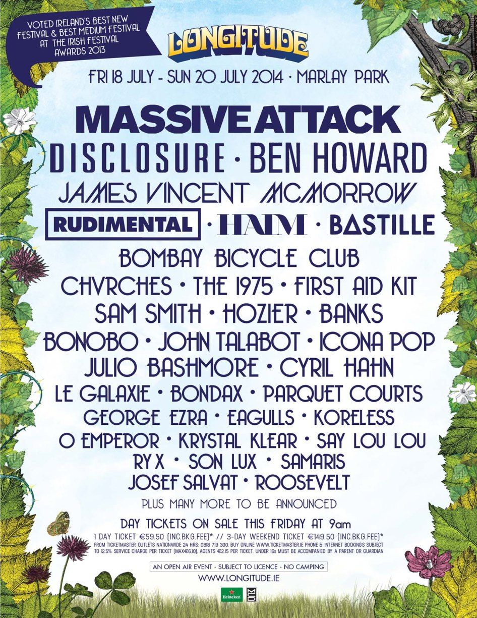 Massive Attack, The 1975 and Rudimental among the big names added to the bill.