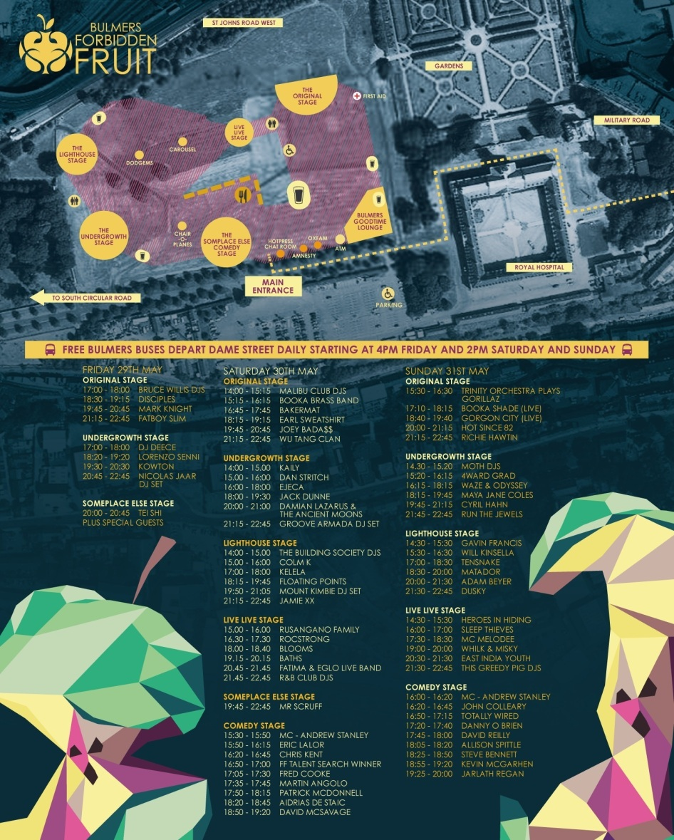 Forbidden Fruit Festival map and stage times.
