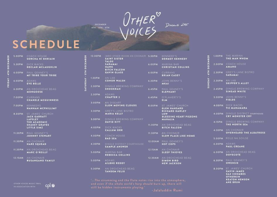 Other Voices Stage Times