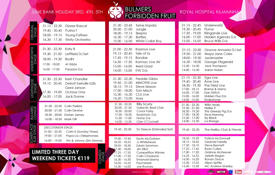Forbidden Fruit Festival 2016 stage times.