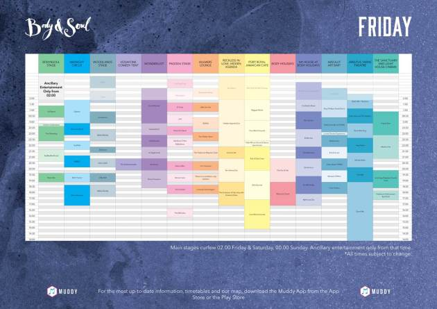 Body&Soul Friday Line Up