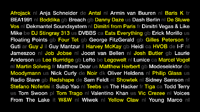 ADE full line-up.