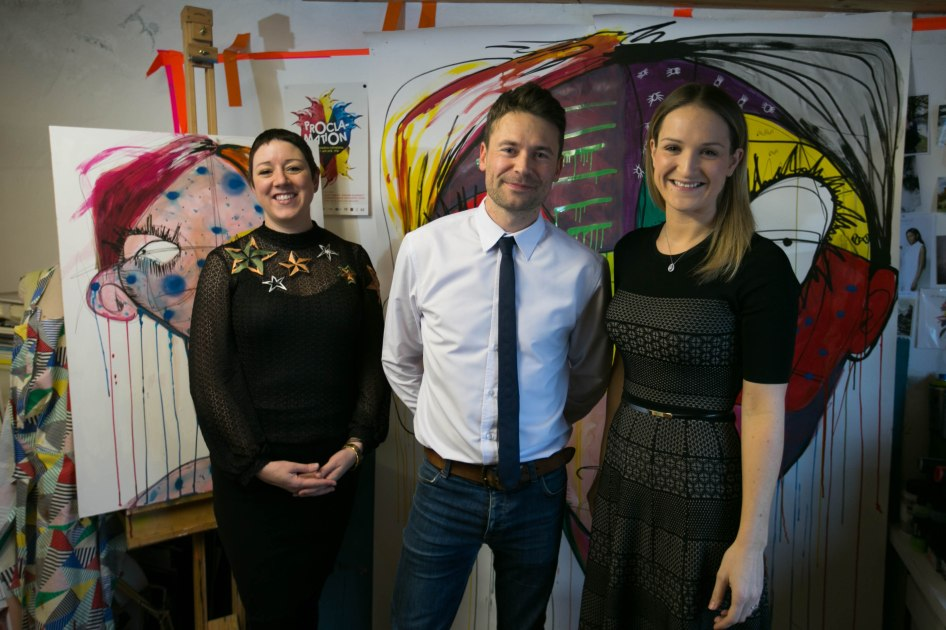 Emma Sheridan; First Fortnight co-founder David Keegan; and Minister of State for Mental Health & Older People Helen McEntee in artist Emma Sheridan's studio.
